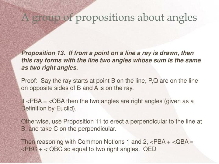 A group of propositions about angles