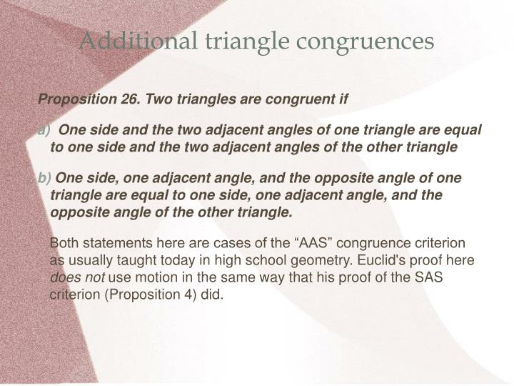 Additional triangle congruences