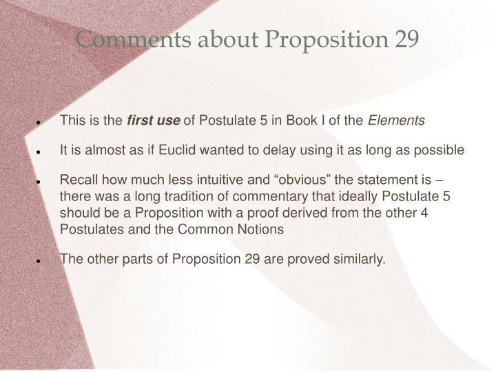 Comments about Proposition 29