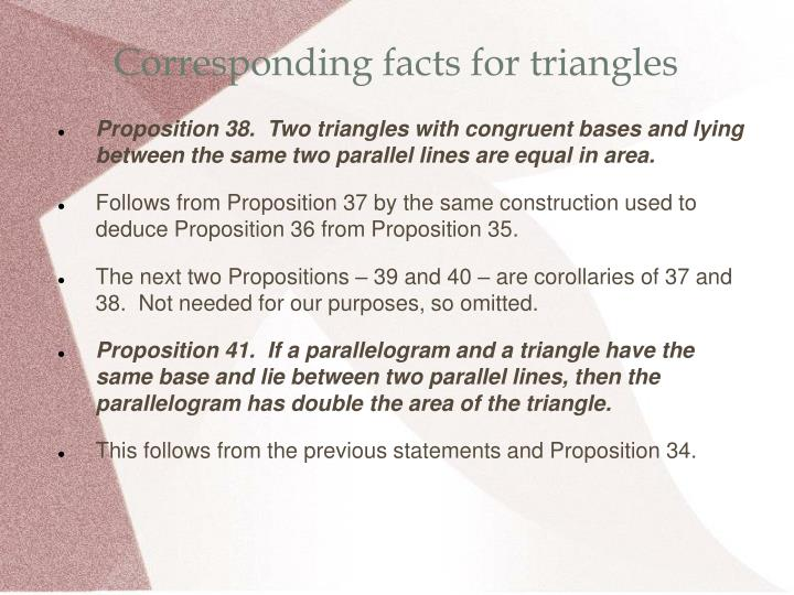 Corresponding facts for triangles