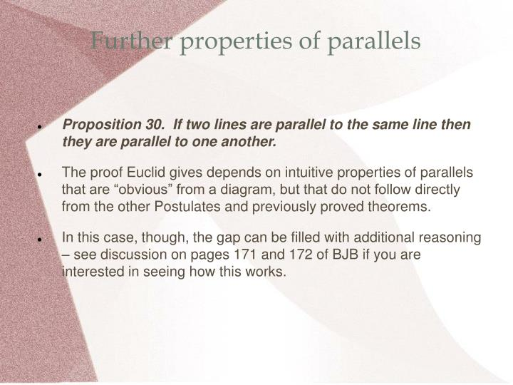 Further properties of parallels