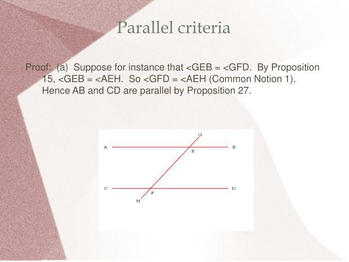 Parallel criteria