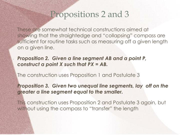 Propositions 2 and 3