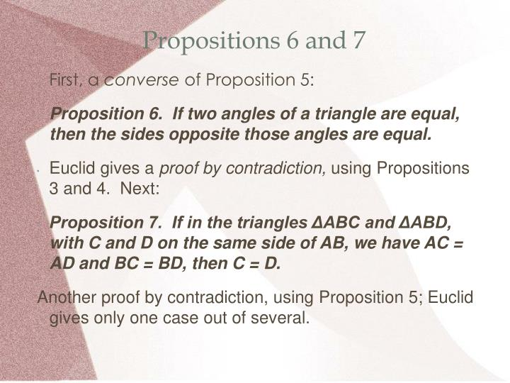 Propositions 6 and 7