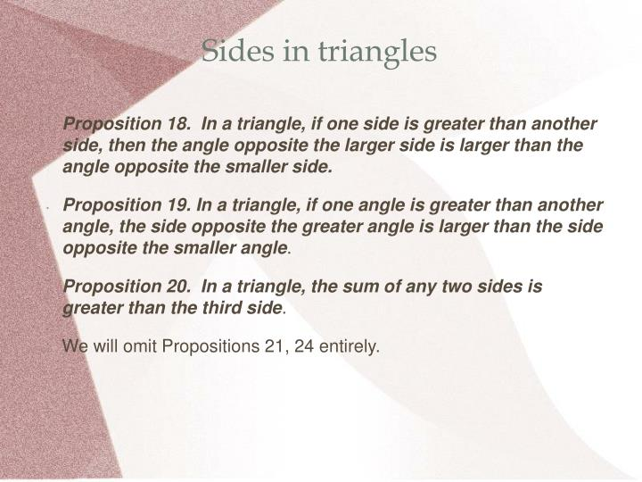 Sides in triangles