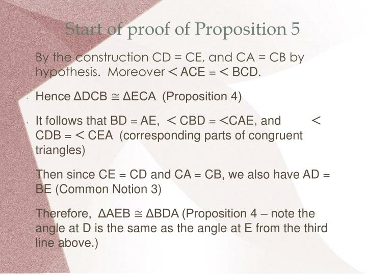 Start of proof of Proposition 5