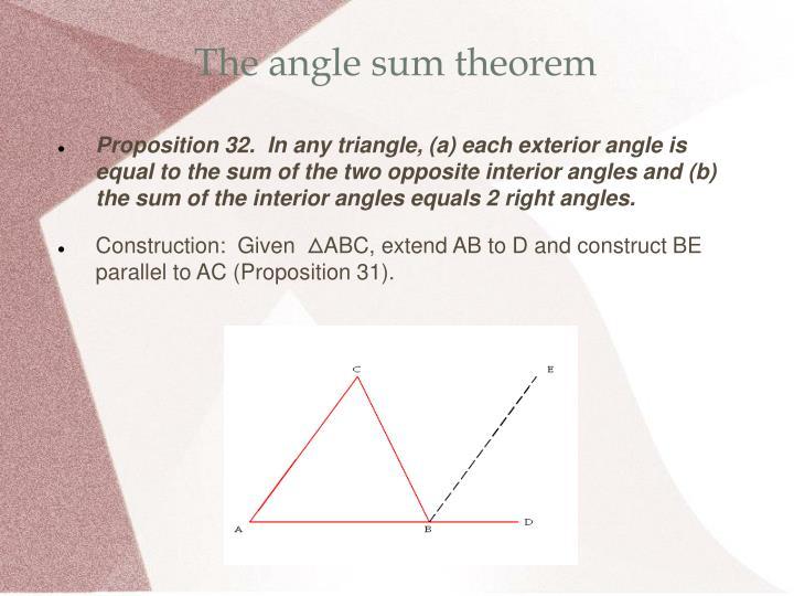 The angle sum theorem