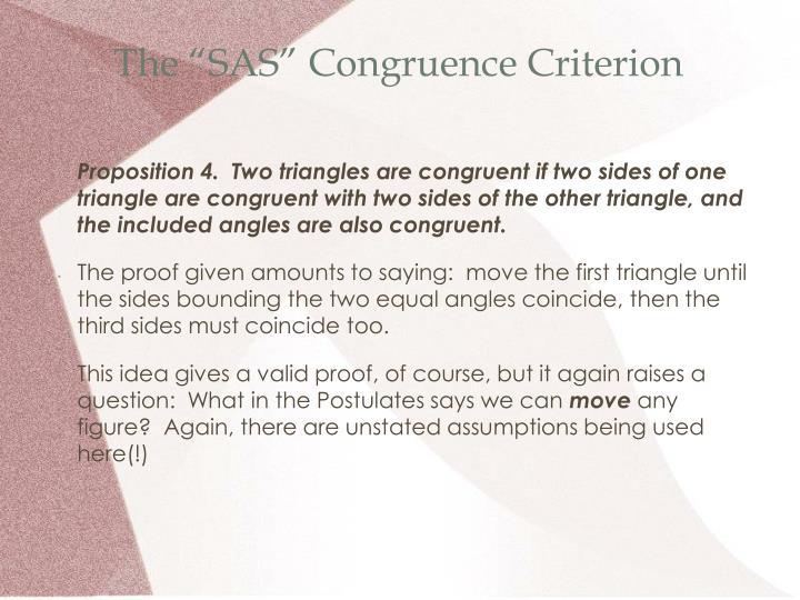 """The """"SAS"""" Congruence Criterion"""