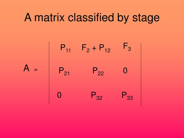 A matrix classified by stage