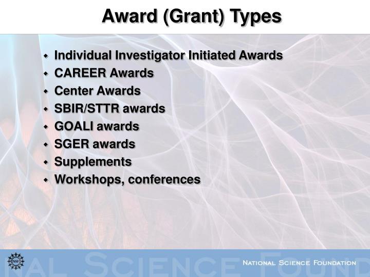 Award (Grant) Types