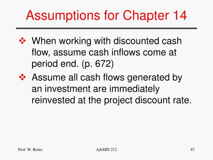 Assumptions for Chapter 14