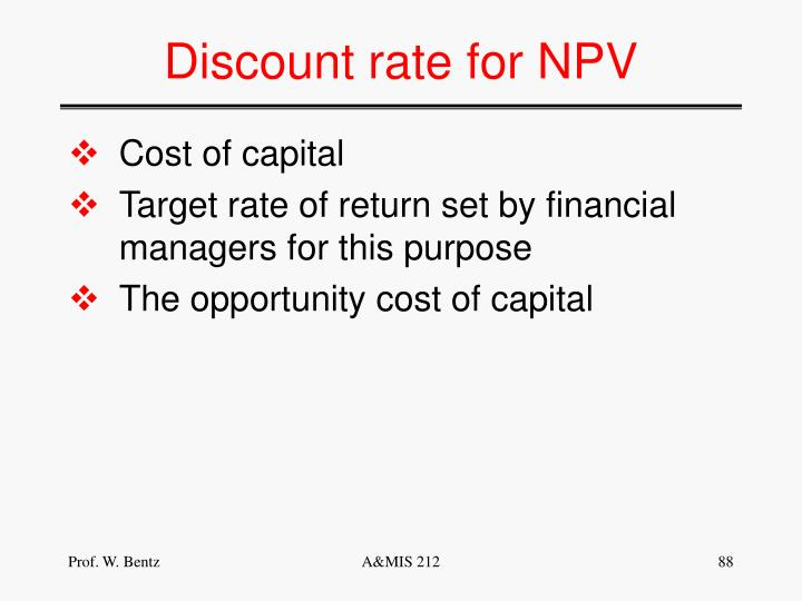 Discount rate for NPV
