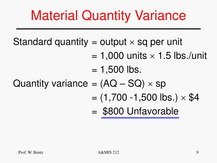 Material Quantity Variance