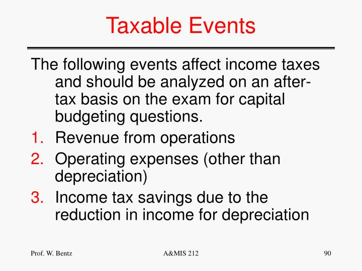 Taxable Events