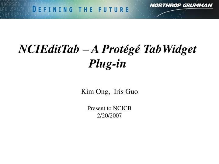 NCIEditTab – A Protégé TabWidget Plug-in