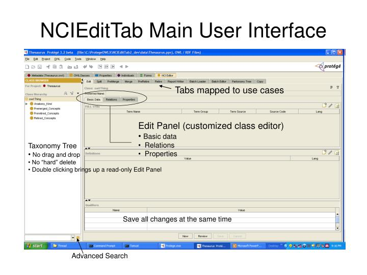 NCIEditTab Main User Interface