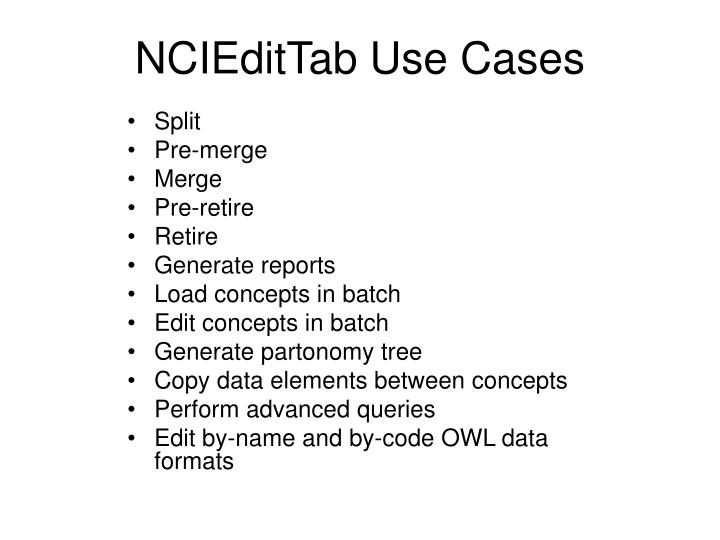 NCIEditTab Use Cases