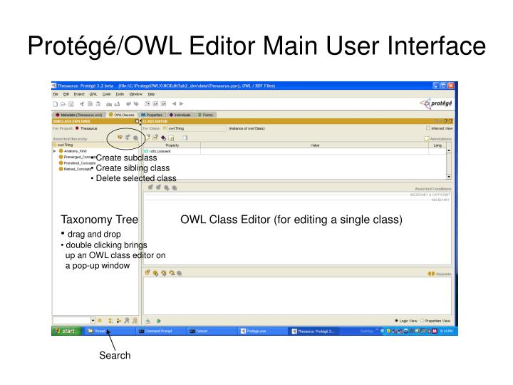 Protégé/OWL Editor Main User Interface