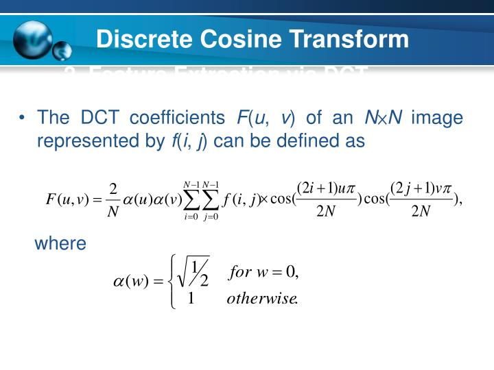 2  Feature Extraction via DCT