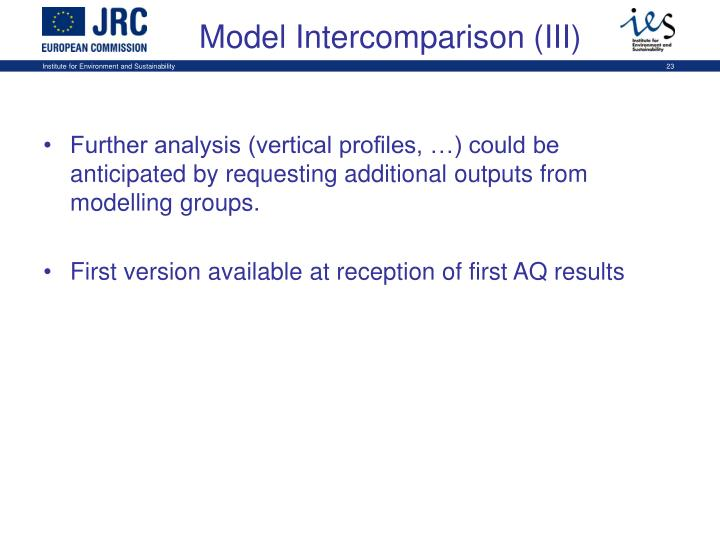 Further analysis (vertical profiles, …) could be anticipated by requesting additional outputs from modelling groups.