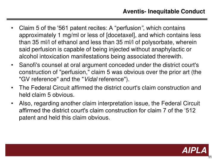 Aventis- Inequitable Conduct