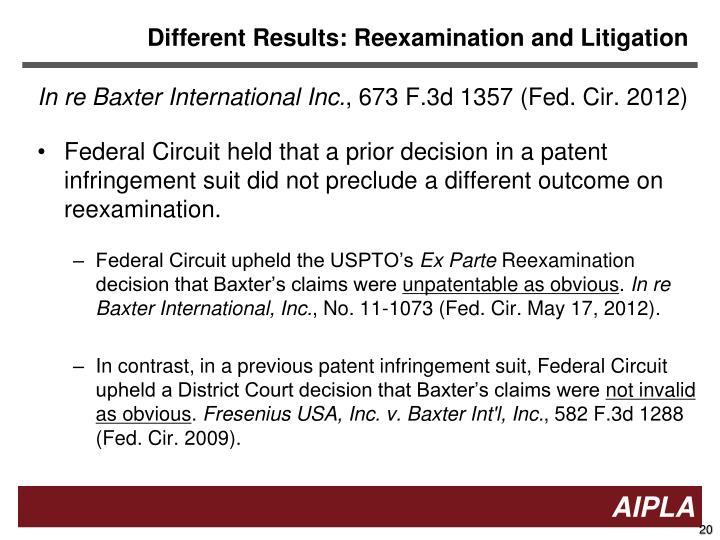 Different Results: Reexamination and Litigation