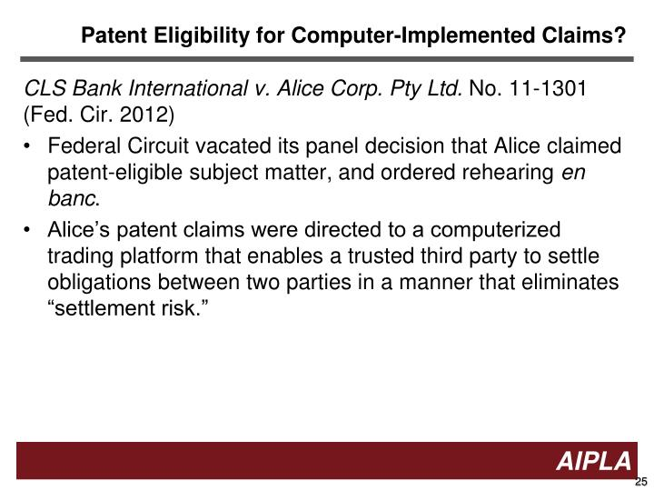 Patent Eligibility for Computer-Implemented Claims?