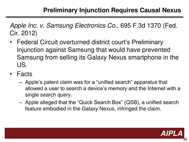 Preliminary Injunction Requires Causal Nexus