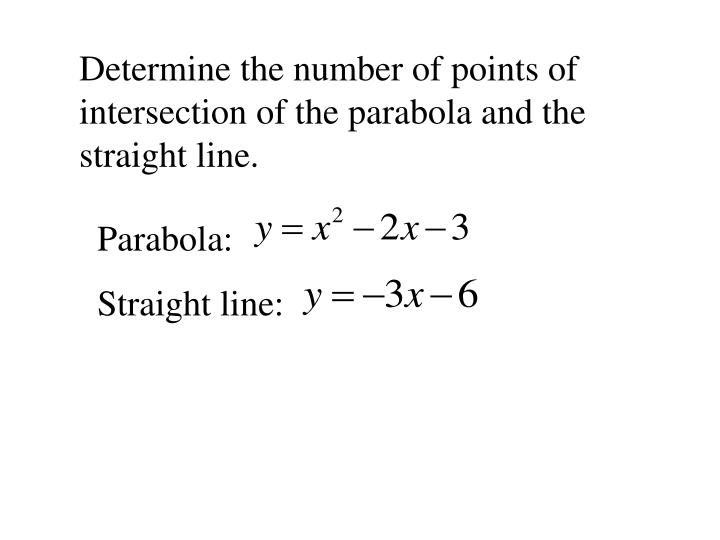 Determine the number of points of intersection of the parabola and the straight line.