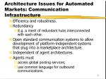 architecture issues for automated markets communication infrastructure