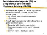 self interested agents si vs cooperative distributed problem solving cdpm