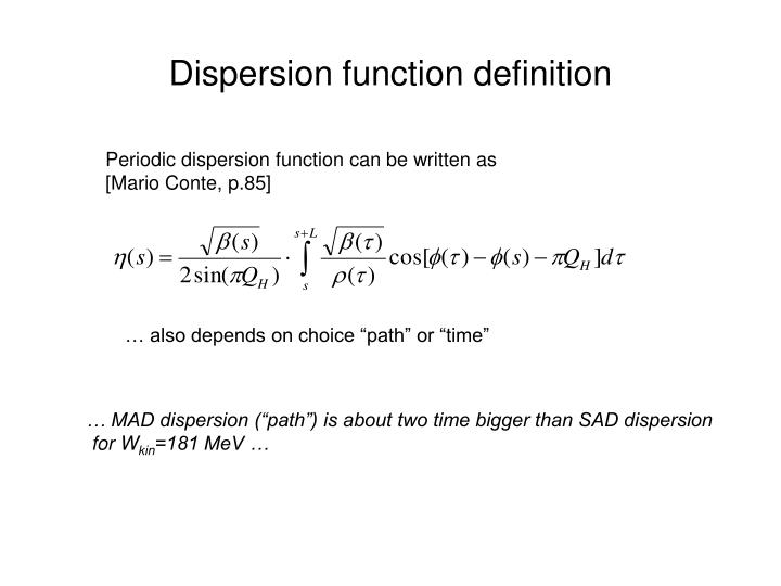 Dispersion function definition
