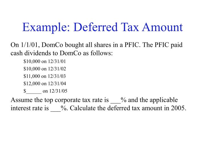 Example: Deferred Tax Amount