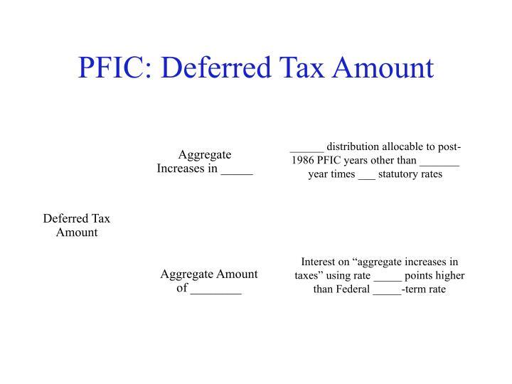 PFIC: Deferred Tax Amount