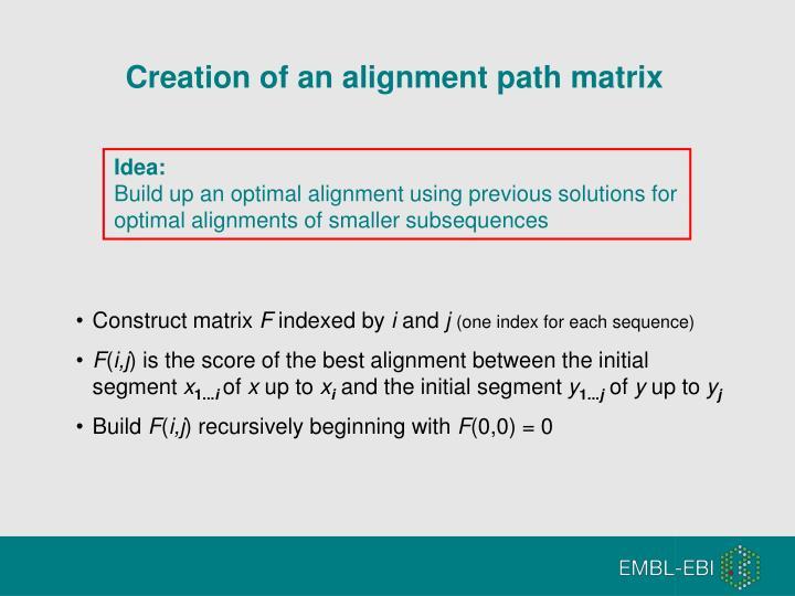 Creation of an alignment path matrix