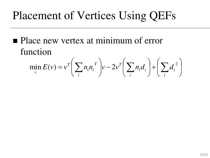 Placement of Vertices Using QEFs