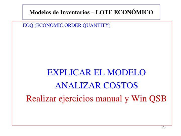 Modelos de Inventarios – LOTE ECONÓMICO