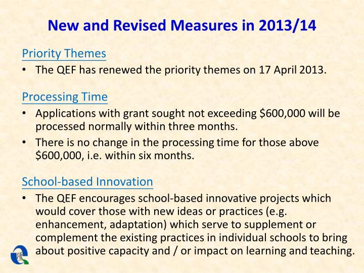 New and Revised Measures in