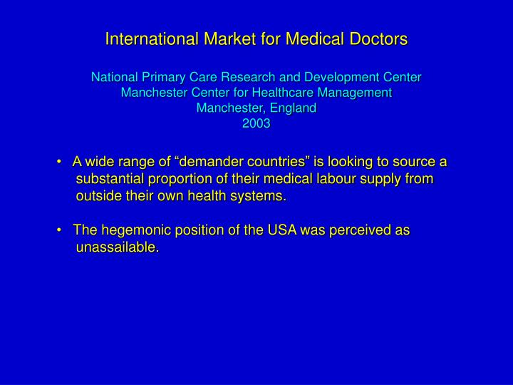 International Market for Medical Doctors