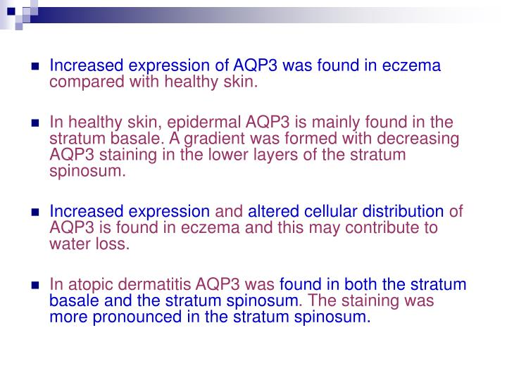 Increased expression of AQP3 was found in eczema