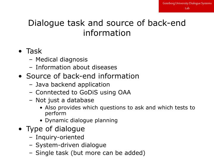 Dialogue task and source of back end information