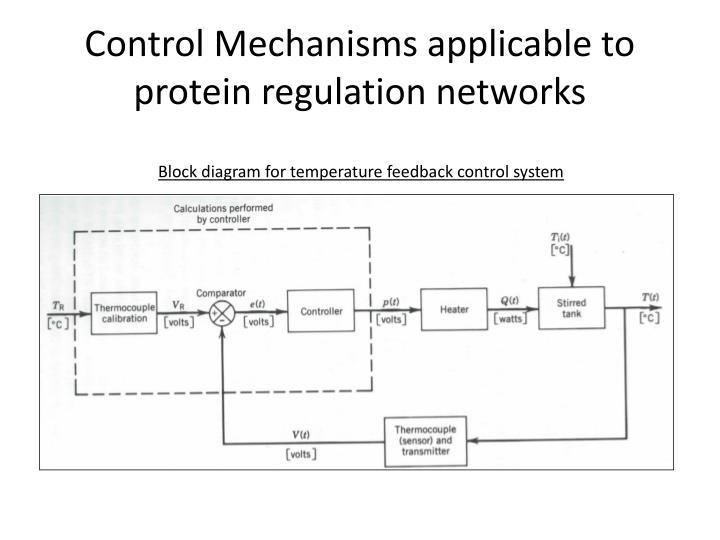 Control mechanisms applicable to protein regulation networks