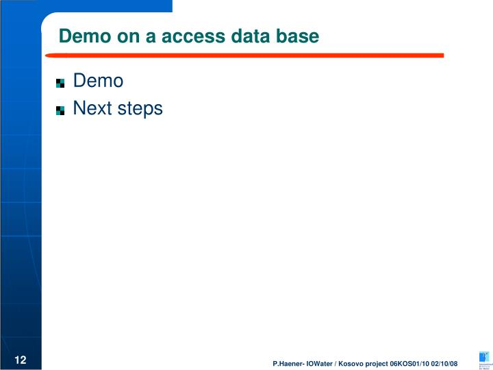 Demo on a access data base