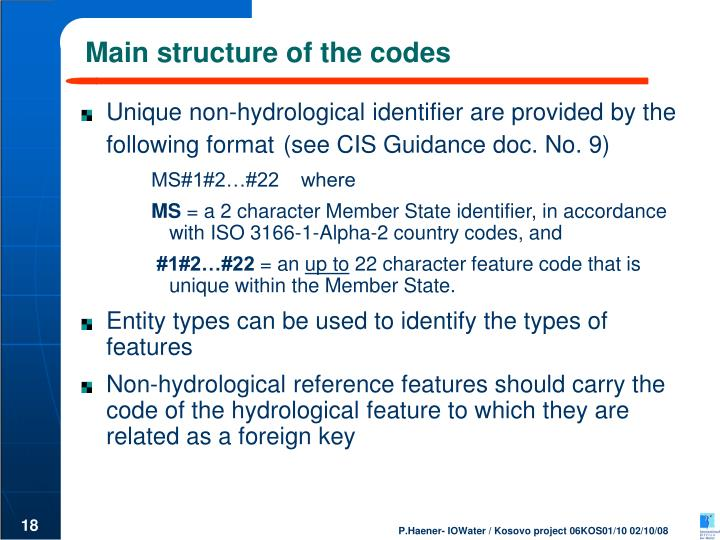 Main structure of the codes