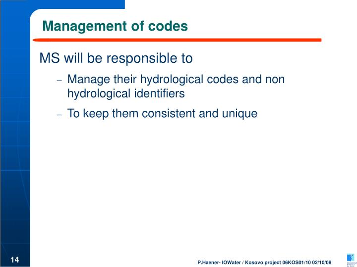 Management of codes