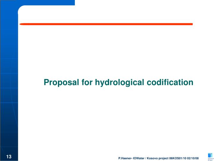 Proposal for hydrological codification