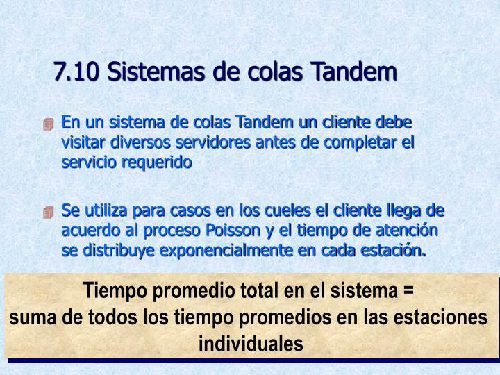 7.10 Sistemas de colas Tandem
