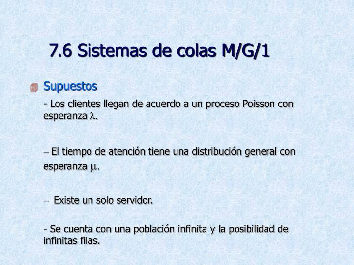 7.6 Sistemas de colas M/G/1
