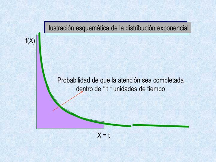 Ilustración esquemática de la distribución exponencial