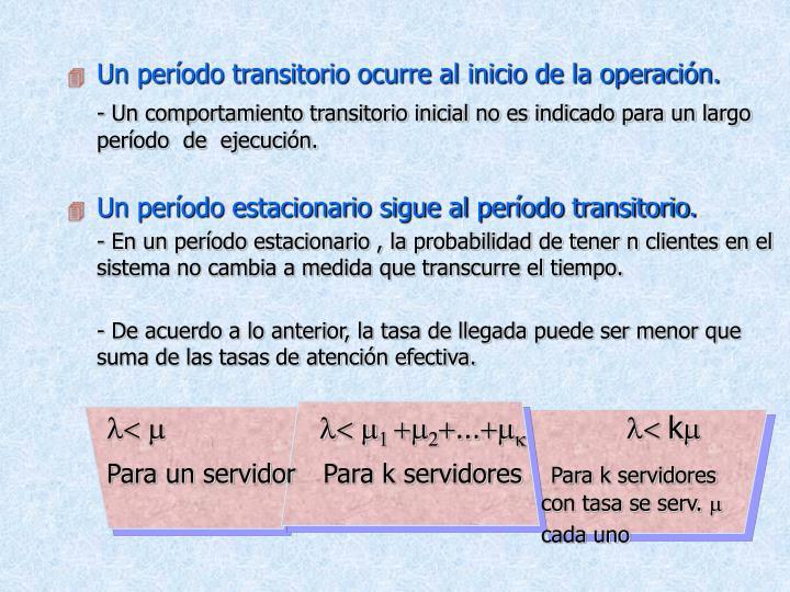 Un período transitorio ocurre al inicio de la operación.